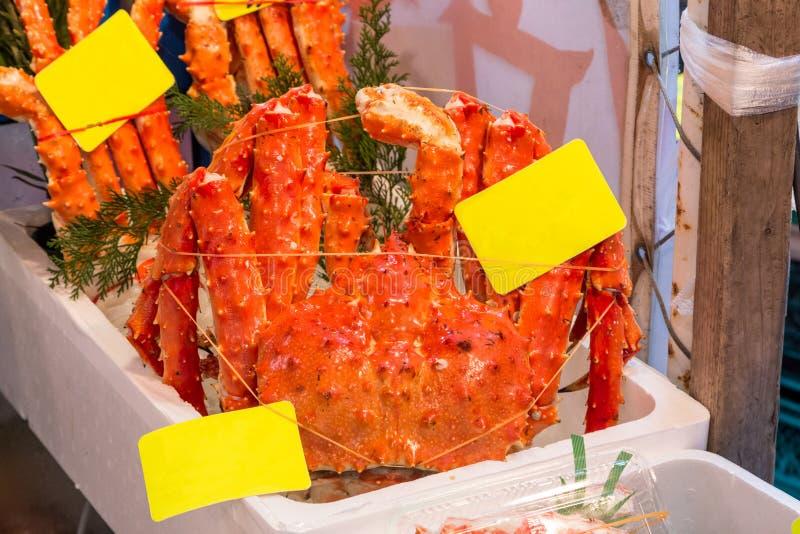 Whole taraba king crab in Tokyo fish market. Whole cooked taraba king crab in Tokyo fish market stock photography