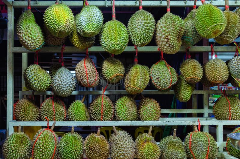 Whole durians - sales stand in Kuala Lumpur, Malaysia. The King of the fruit stock photo