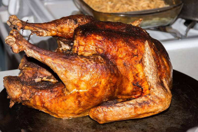 Whole fried turkey cooked golden brown stock photos