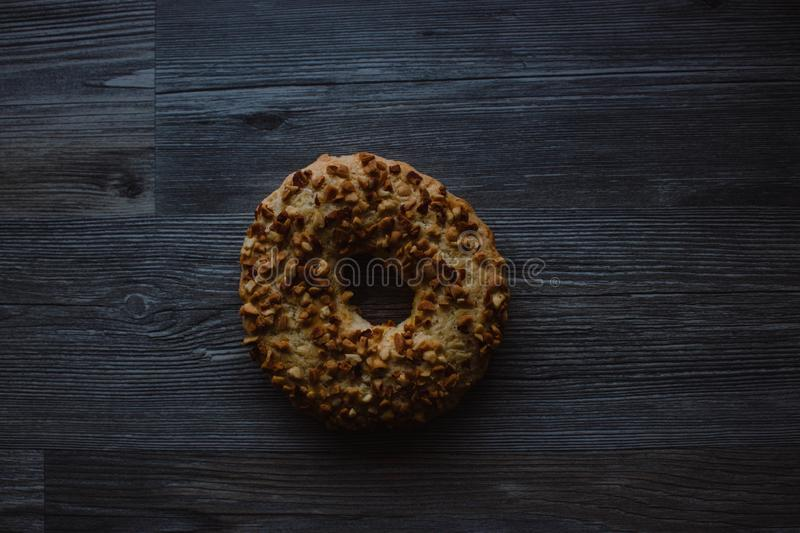 Whole grain cereal shortbread biscuits cookies stacked with nuts and raisins royalty free stock photo