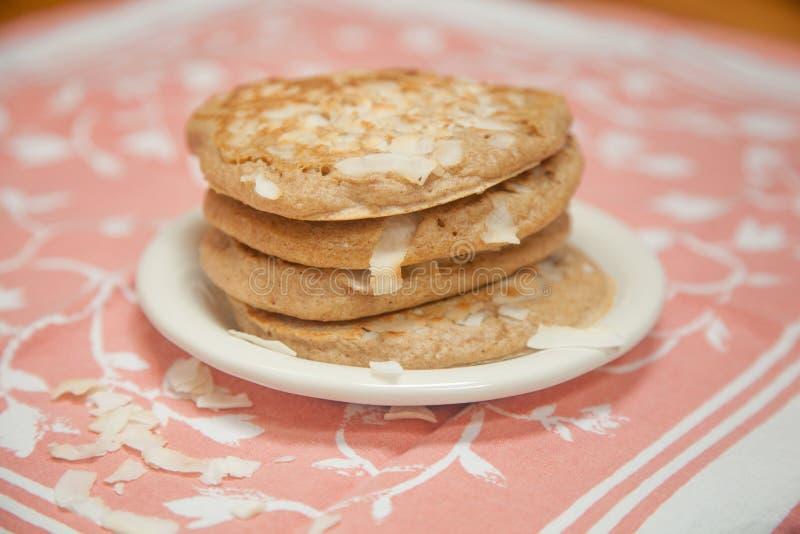 Whole Grain Coconut Pancakes stock photo