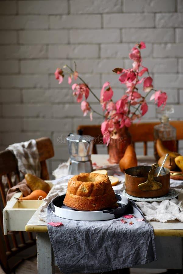Whole Grain Pear cake with Caramel Glaze .selective focus stock image