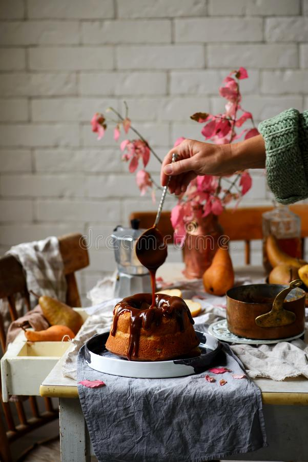 Whole Grain Pear cake with Caramel Glaze .selective focus royalty free stock images