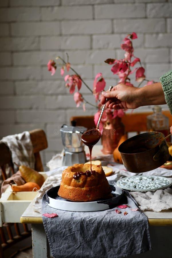 Whole Grain Pear cake with Caramel Glaze .selective focus royalty free stock photo