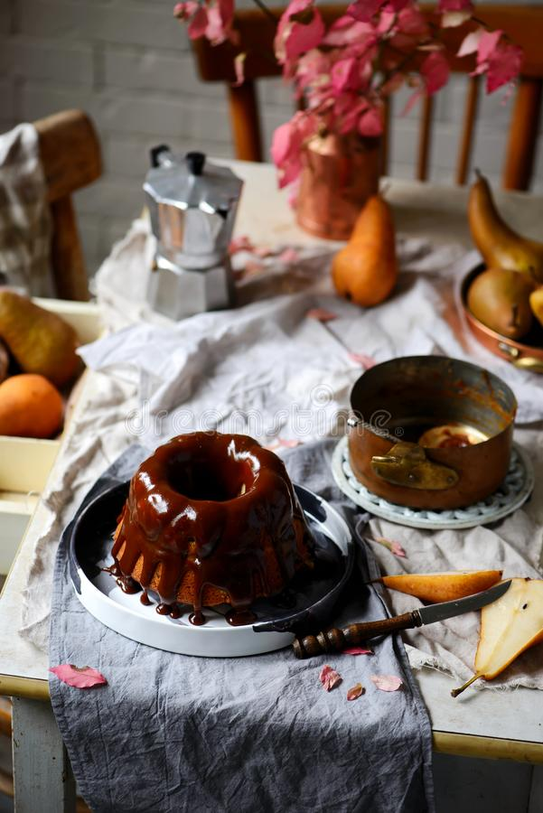 Whole Grain Pear cake with Caramel Glaze .selective focus stock photo