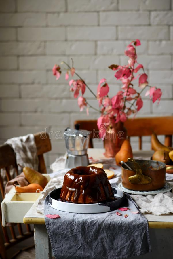 Whole Grain Pear cake with Caramel Glaze .selective focus royalty free stock photography