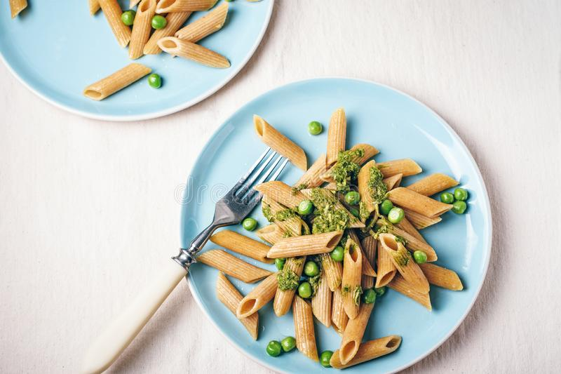 Whole grain penne pasta royalty free stock photography