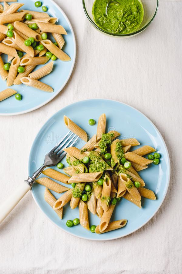 Whole grain penne pasta royalty free stock photo
