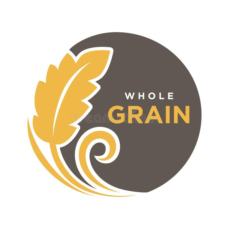 Whole grain round logo with ears of wheat symbol isolated on white. Fresh yellow grain with text logotype written on black circle vector illustration in flat vector illustration