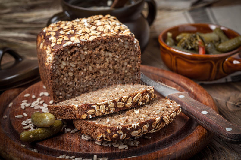 Whole Grain rye bread with seeds. royalty free stock photos