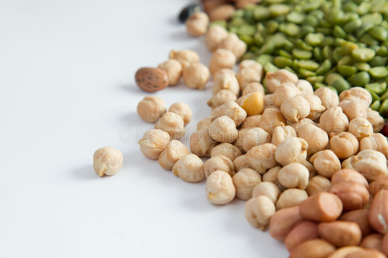 Whole grains Legumes. Whole grains Various Legumes close up royalty free stock photography