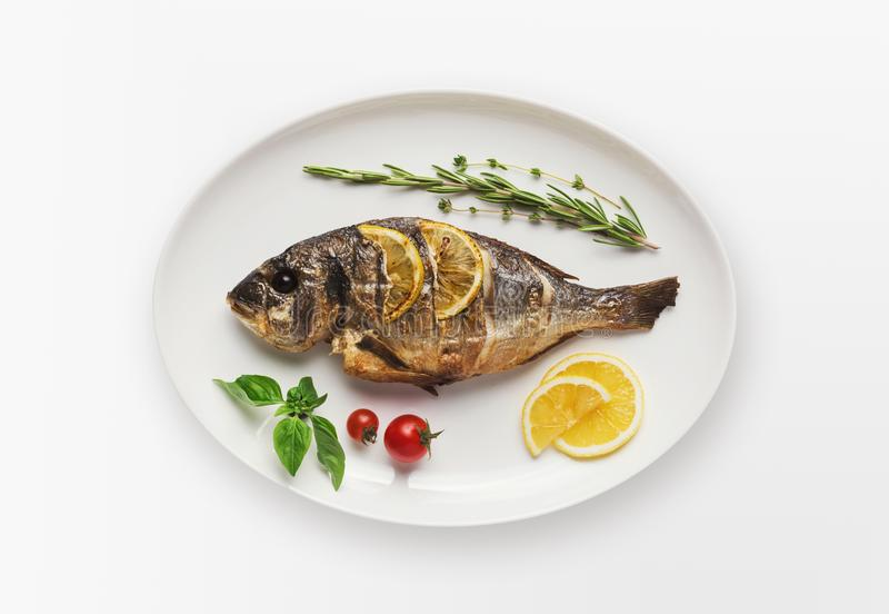 Whole grilled dorado on plate, isolated royalty free stock photography