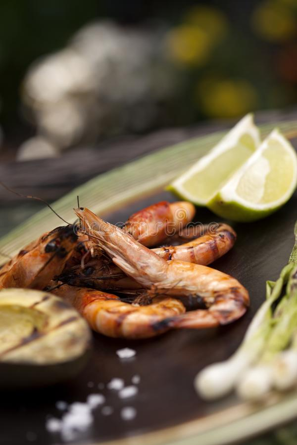 Whole Grilled Shrimps Dinner in Garden royalty free stock images