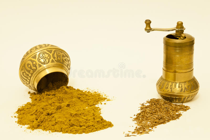 Download Whole And Ground Cumin Seeds Stock Image - Image of grinder, powder: 22616543