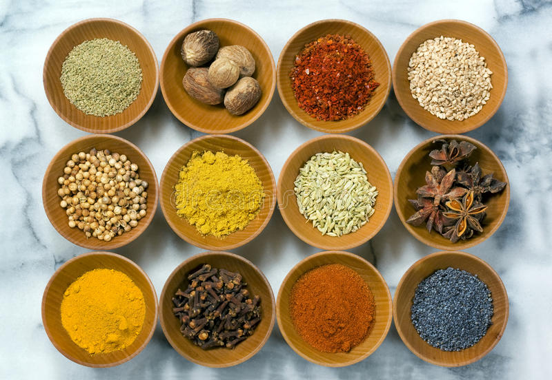 Whole & Ground Spices stock photography