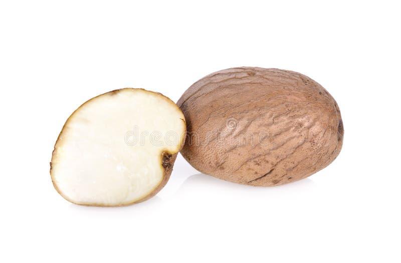 Whole and half cut fresh Dioscorea, Mun-Heb Thai text on white stock image