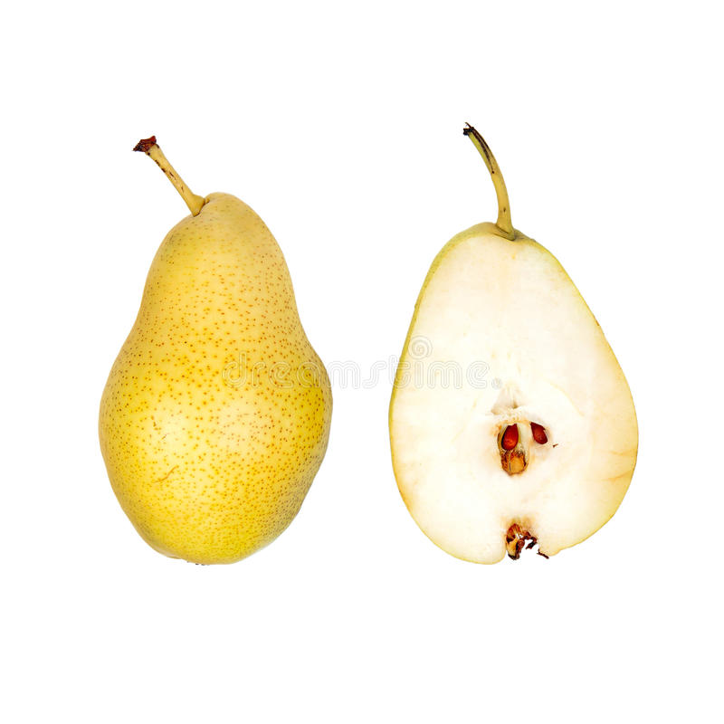 Whole and half cut pear