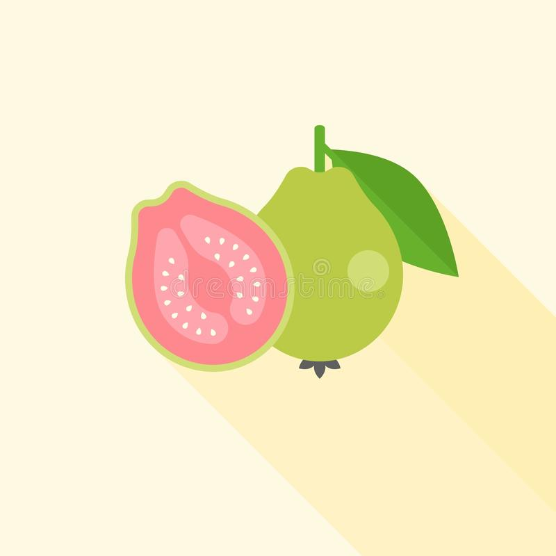 Whole and Half guava in cross section icon royalty free illustration
