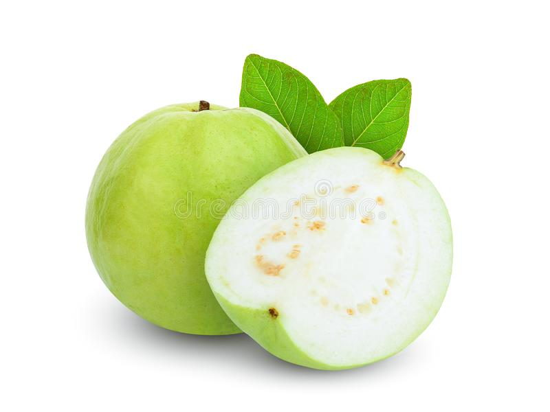 Whole and half guava fruit with leaf isolated on white royalty free stock image