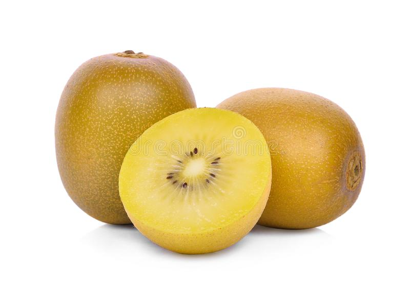 Whole and half of yellow or gold kiwi fruit isolated on white stock images