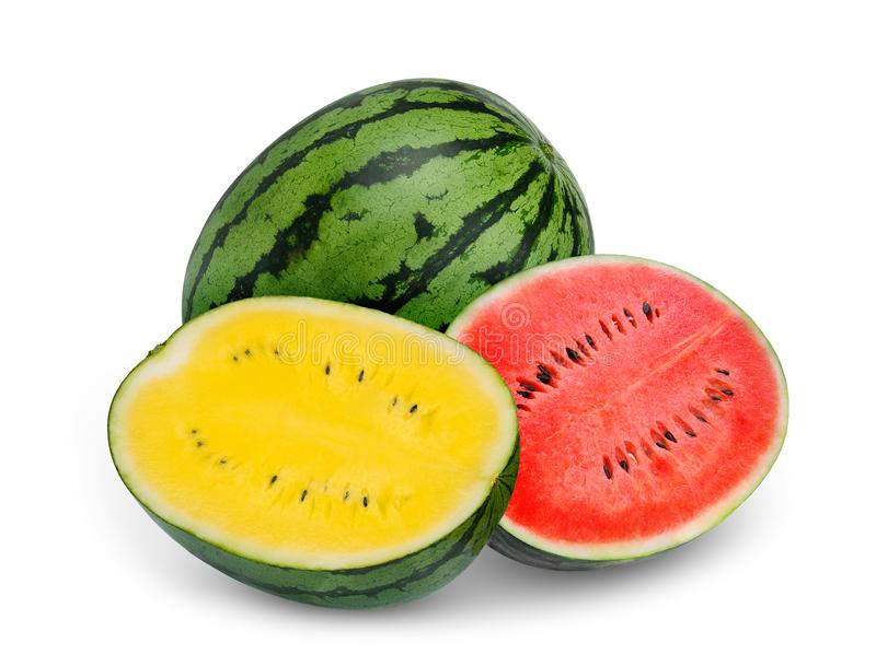 Whole and half yellow and red watermelon isolated on white stock images