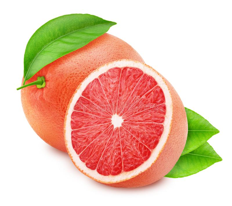Whole and halved red grapefruits isolated on white background. royalty free stock photo