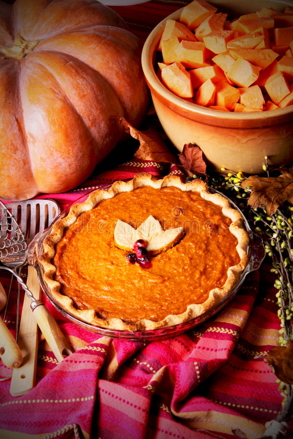 Whole Homemade Pumpkin Pie stock photos