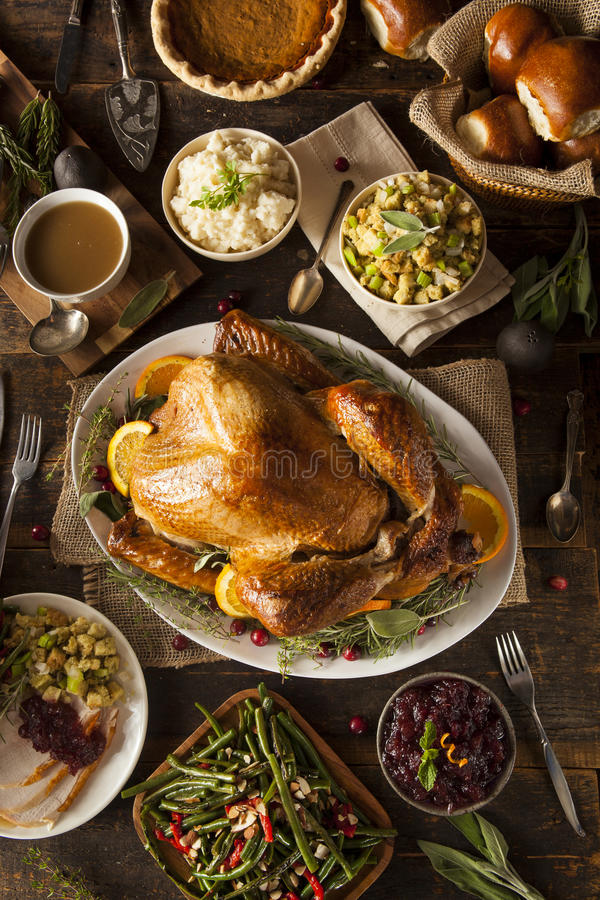 Whole Homemade Thanksgiving Turkey stock photography