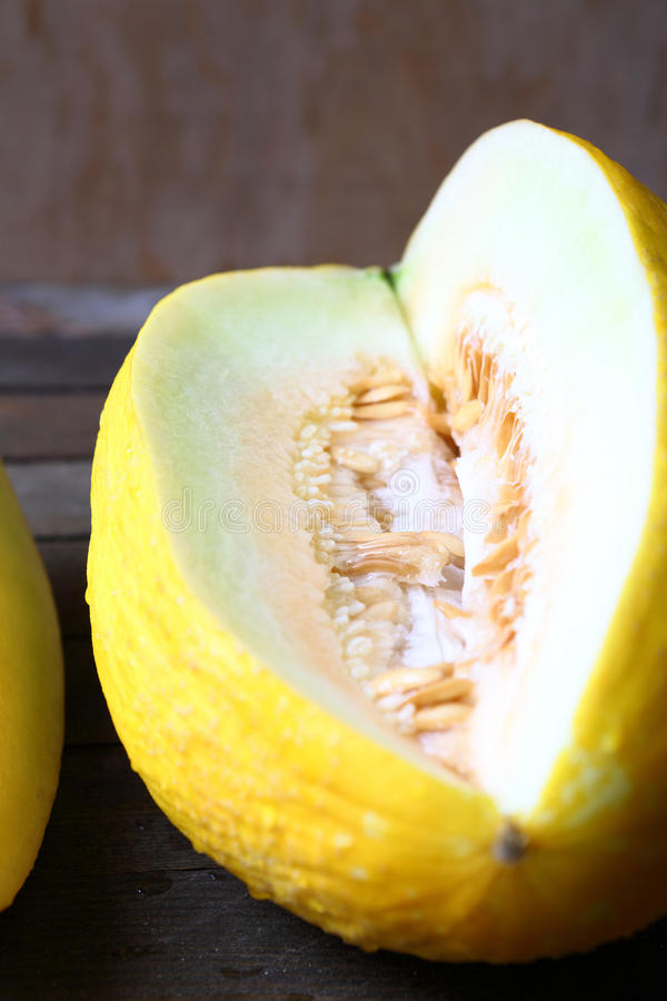 Whole Incised Yellow Melon Stock Photography