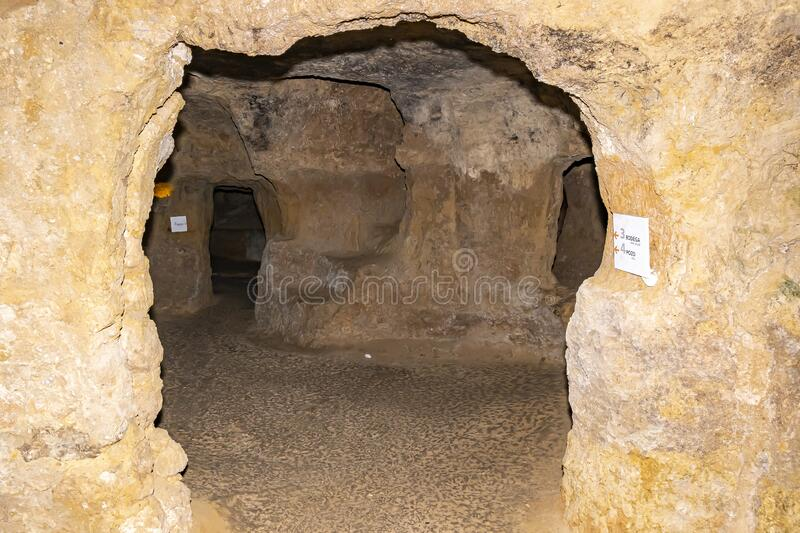 Whole passageways dug under the streets and houses of Requena, Spain stock image