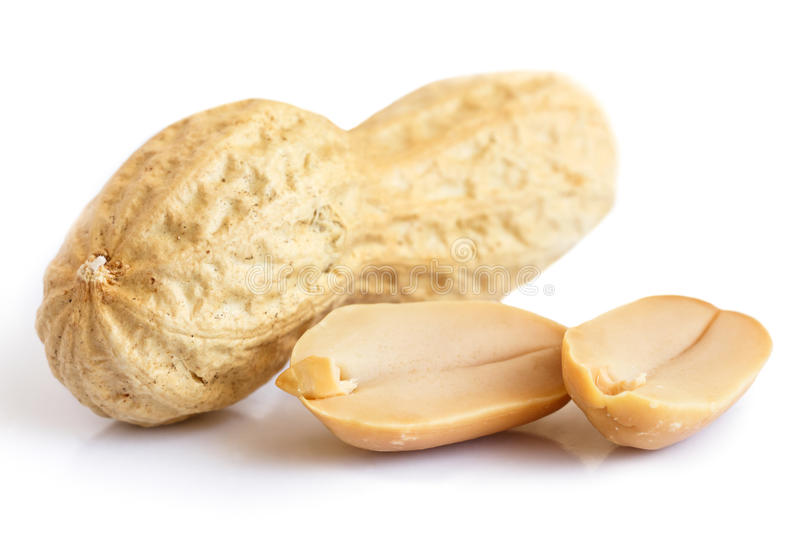 Whole peanut in shell and nuts. stock images