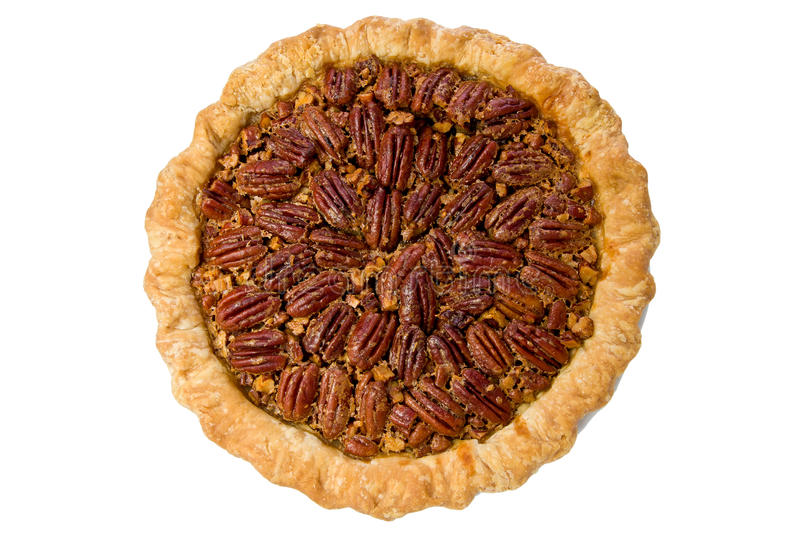 Whole Pecan Pie. Against a white background stock photography