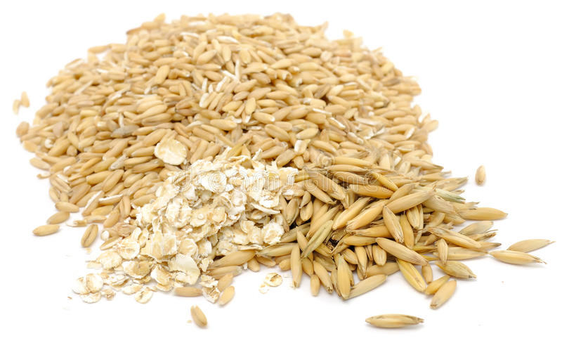 Download Whole Peeled Oats, Oat Flakes And Unpeeled Oats Stock Photo - Image: 22718986
