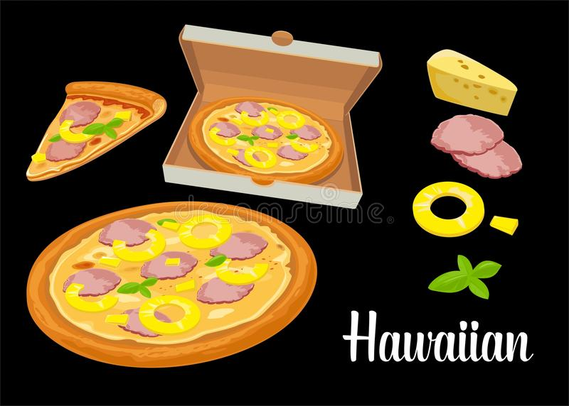 Whole pizza and slices of pizza Hawaiian in open white box. Isolated flat illustration on black background. For poster, men stock illustration