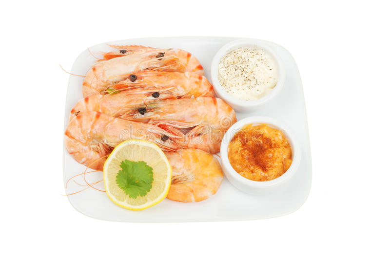 Whole prawns with dips stock photos