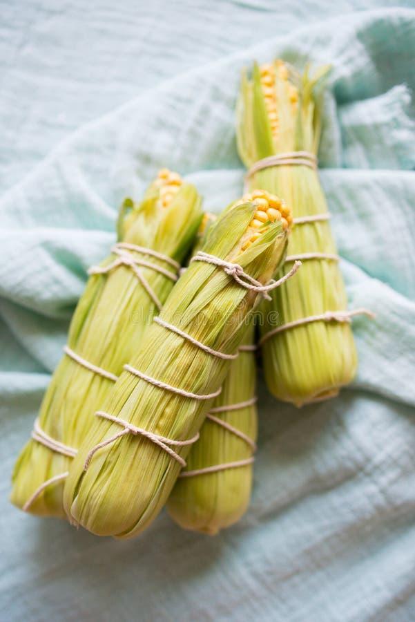 Raw corn prepared for baking. Whole raw corn prepared for baking, the corns are tighten with culinary string royalty free stock photo