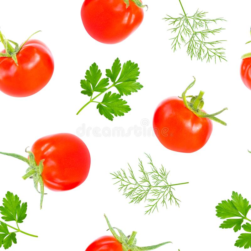 Whole red juicy cherry tomato with parsley and dill leaves, fresh summer vegetable, food pattern, seamless pattern on. Whole red juicy cherry tomatoes with stock photography