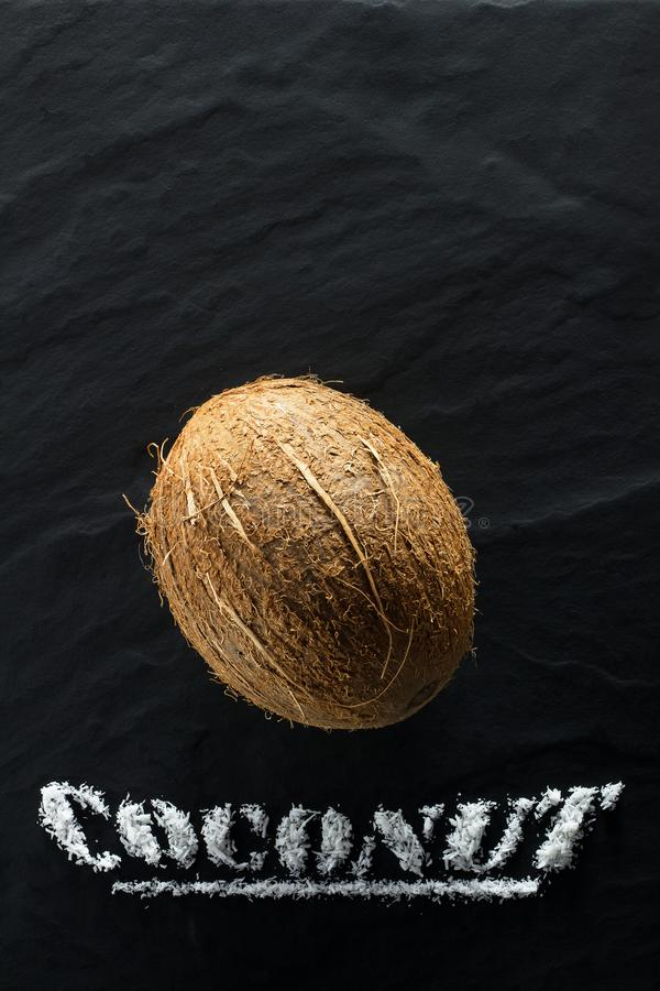 Whole ripe coconut on a black textural background royalty free stock images