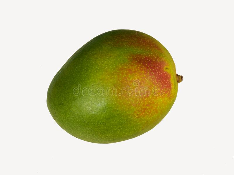 Whole Ripe Green Red Mango isolated on white background royalty free stock photography