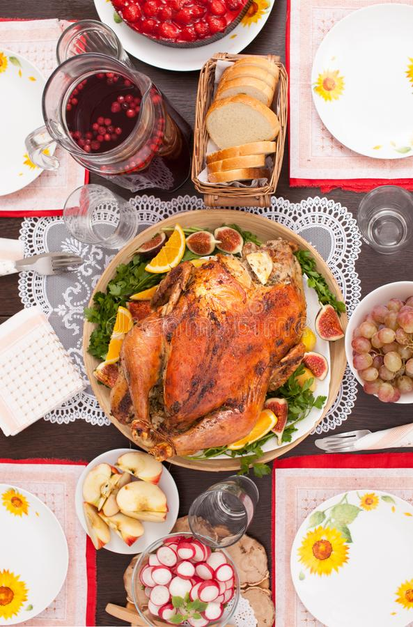 Roasted Turkey served on the table. The view from the top. stock photo