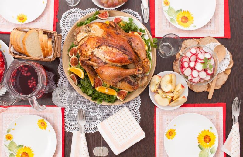 Whole roast Turkey on the holiday table. royalty free stock photography