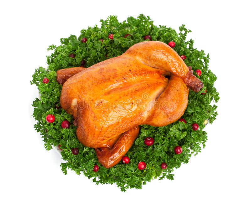 Whole roasted chicken royalty free stock photos