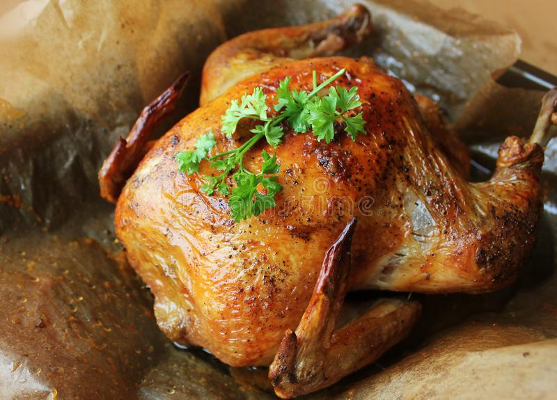 Whole roasted chicken on cooking pan stock photos
