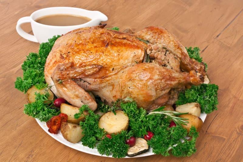 Whole Roasted Stuffed Chicken stock photo