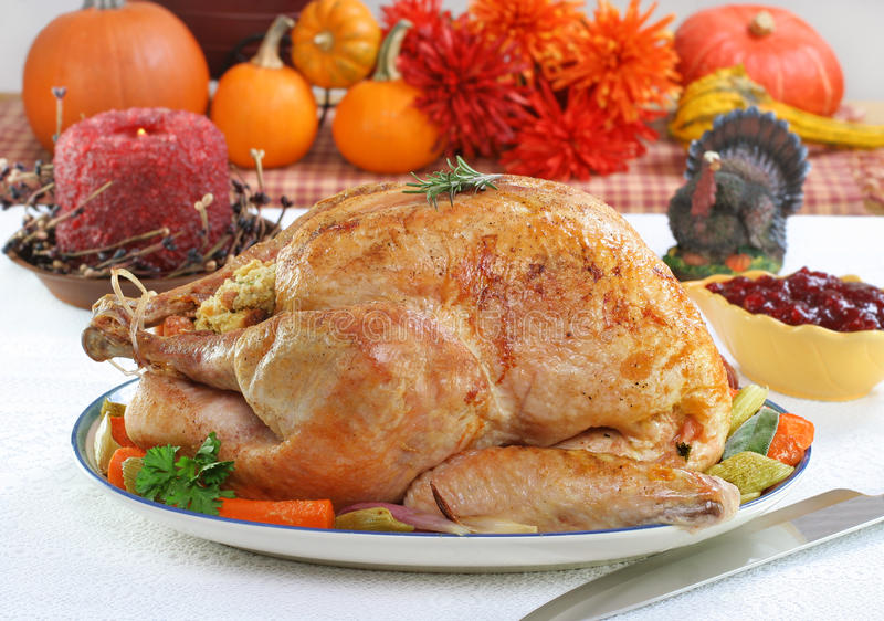 Whole roasted turkey in Thanksgiving setting. One whole roasted turkey in a festive Thanksgiving setting royalty free stock image