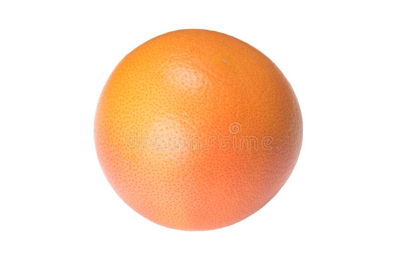 Whole, round, ripe, bright, orange grapefruit isolated on white royalty free stock image