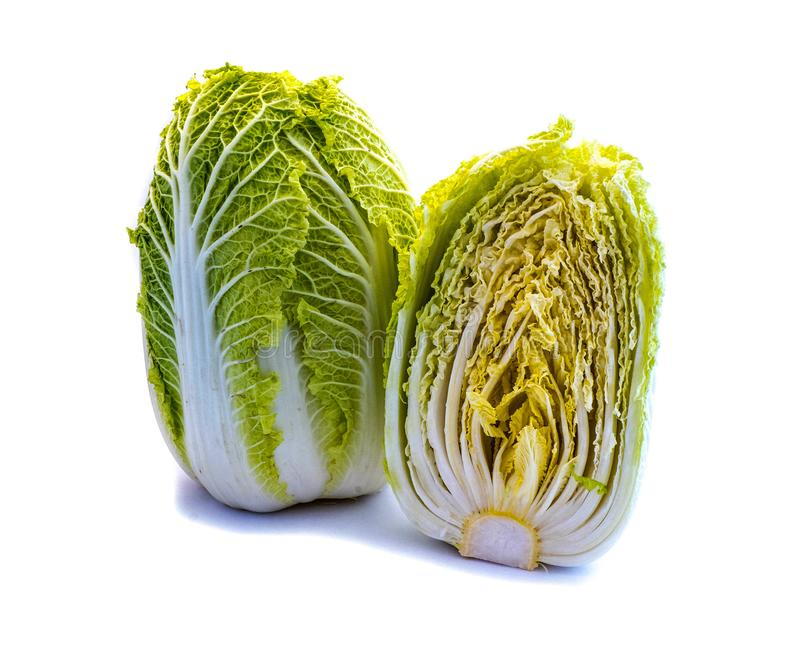 A whole and a sliced Chinese cabbage isolated on white background stock image