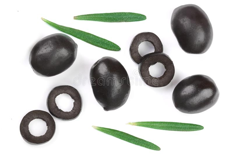 Whole and sliced black olives with rosemary leaves isolated on white background. Top view. Flat lay pattern.  stock photos