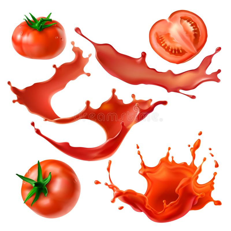 Tomatoes berry and juice realistic vector set. Whole and sliced on half fresh tomatoes, tomato juice splashes and swirls 3d realistic vector illustrations set stock illustration