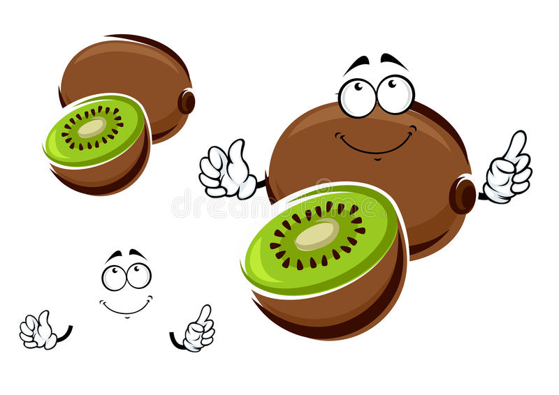 Whole and sliced kiwi fruit character. Funny whole and sliced kiwi fruit cartoon character with green juicy flesh and black seeds in the center. Isolated on stock illustration